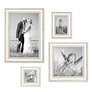 ensemble de 4 cadres photo en bois massif blanc style campagne et nature dimensions 10x10 cm. Black Bedroom Furniture Sets. Home Design Ideas