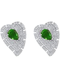 shazé SIlver Brass Emerald Earrings for Women