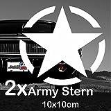2x Army Stern von Finest-Folia Retro Oldschool Aufkleber Sticker Hotrod Rat US Star Armee 10x10cm