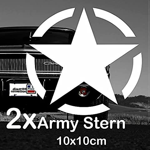 2x Army Stern von Finest-Folia Retro Oldschool Aufkleber Sticker Hotrod Rat US Star Armee 10x10cm