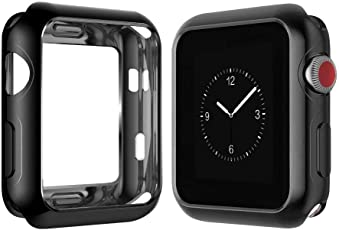 Soni Ventures™ - Apple Watch 38mm Case Series 1/2/3 [Lightweight Fit] Soft TPU Candy Skin [Anti-Shock] Ultra-Thin Protective Bumper Case Cover Compatible with iWatch 38mm Case for Series 1, Series 2 , Series 3 (Black TPU)