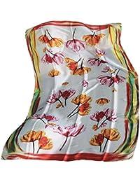 FERETI Longue écharpe Foulard soie fleurs Blanc nacré e Multi couleur  polychrome 93e3381280c