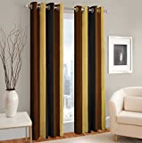 #8: Weavers Villa® Set of 2 Window / Door Stripe Design Faux Silk Polyester Blend Designer Curtains [ 7 ft - Window/Door ]