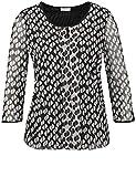 GERRY WEBER T-Shirt 3/4 Arm Blusenshirt aus Bedrucktem Mesh Schwarz-Ecru-Weiß 44