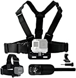 Body Mount Bundle for Gopro Hero 5, Black Session, Hero 4, Session, Black, Silver, Hero+ LCD, 3+, 3, 2, 1 - Chest Harness Mount / Head Strap Mount / Wrist Mount / J-Hook / Thumbscrew / Storage Bag