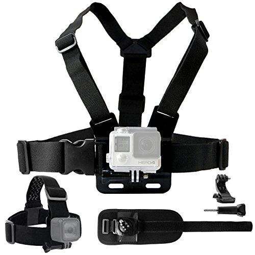 CamKix Einstellbarer Brustgurt Halterung - Kompatibel mit Allen GoPro Hero Modellen/DJI Osmo Action - Ebenfalls enthalten: 1x J-Haken, 1x Stativschraube, 1x CamKix Kordelzugtasche