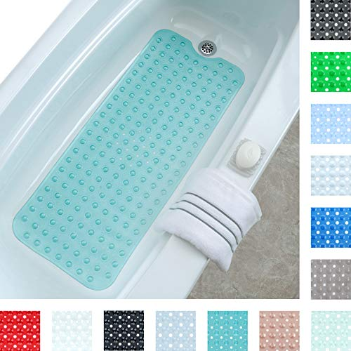 SlipX Solutions Aqua Extra Long Bath Mat Adds Non-Slip Traction to Tubs & Showers - 30% Longer Than Standard Mats! (200 Suction Cups, 99 cm Long Bathtub Mat)