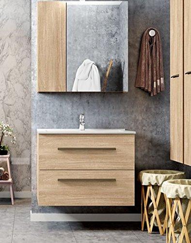 Mobile Base Hänge-Bad komplett Waschbecken Art. 56b02–2zwei–Farbe Eiche