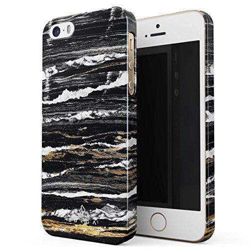 Cover iPhone 5 / 5s / SE Nero Marmo, BURGA Black Marble Design Sottile, Guscio Resistente In Plastica Dura, Custodia Protettiva Per iPhone 5 / 5s / SE Case Black & Gold Onyx