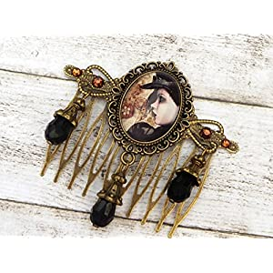 Haarkamm mit Steampunk Lady in schwarz bronze