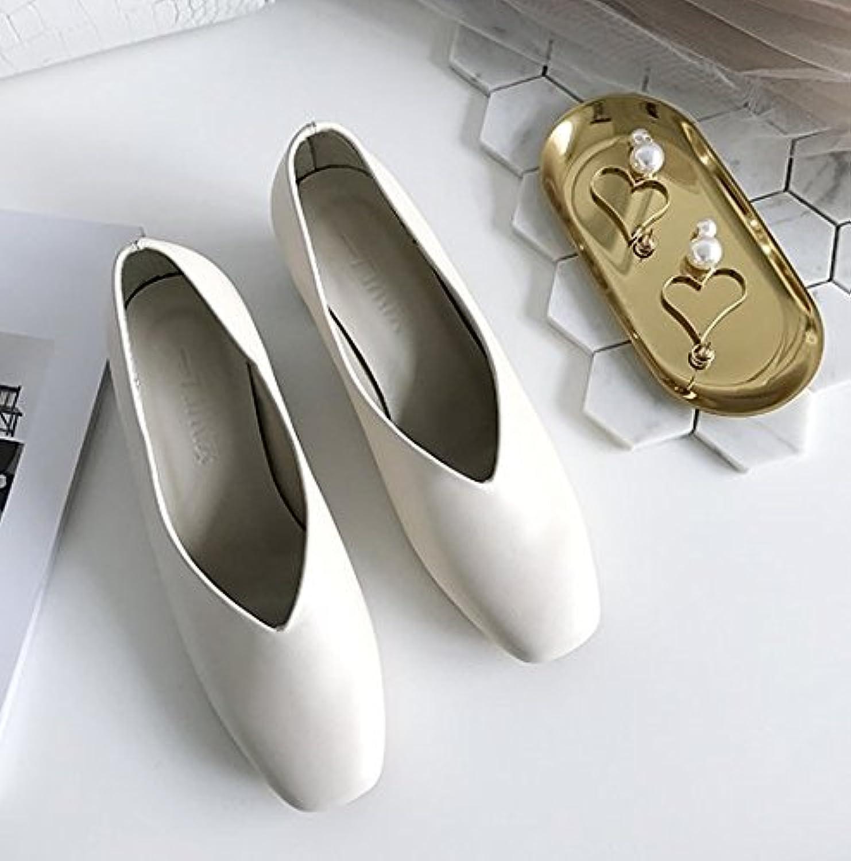 Angrousobiu Cabeza cuadrada, solo zapatos de cuero con tiras gruesas con Wild arte Minimalista zapatos,38, blanco