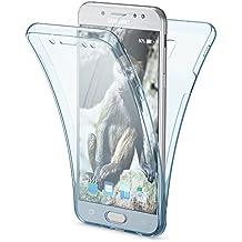 Samsung Galaxy J5 2017 EU Model Funda Carcasa Protectora 360 Grados de NICA, Movil Silicona Ultra-Fina Transparente, Doble Delantera torno protección, Cubierta Bumper Cover Case, Color:Azul