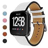CAVN Fitbit Versa Correa Reemplazo, Genuina Moda Vintage Cuero Reemplazo Pulsera Accesorios Correas Para Fitbit Versa Fitness Inteligente Watch Mujeres Hombres,Blanco