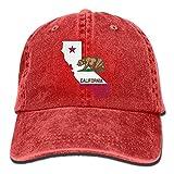 Hipiyoled Unisex Adult California Outline Flag Vintage Cotton Denim Baseball Cap Hat 5Z903