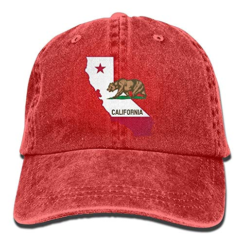 Hipiyoled Unisex Adult California Outline Flag Vintage Cotton Denim Baseball Cap Hat 5Z903