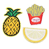 Souarts Pineapple Lemon Fries Patch Cartoon Brooch Pin Badges Set for Clothes Bag Backpack Jackets