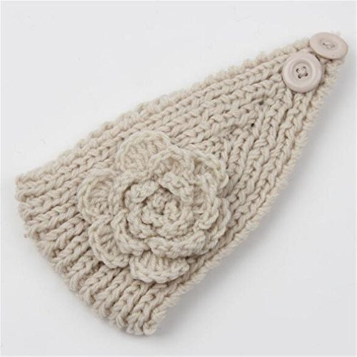 Frauen Knit Stirnband Crochet Winter Warmer Lady Haarband Headwrap, beige