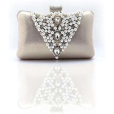 Da Wu Jia Ladies borsetta di alta qualità delle donne di lusso satinata /formale perla artificiale/Con Regal abito cinese Borsa/ Casual / evento/parte / frizione di Nozze / sera Bag , golden