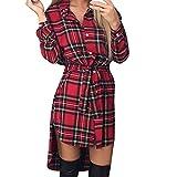 Kleider , Frashing Damen Kariert Langarm Oversize Hemd Button Longshirt Cardigan Top Knopf beiläufiges kariertes Krawatten Hemd Spielanzug Kleid (S, Rot)