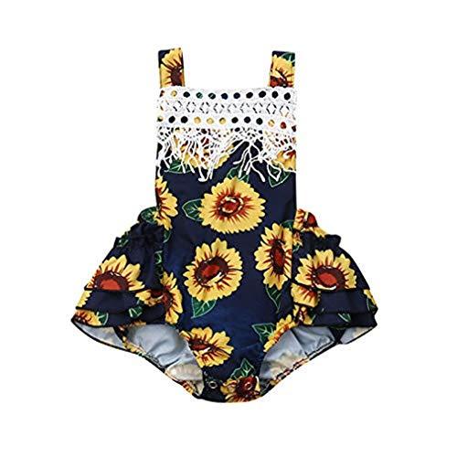 squarex Kleinkindbaby-Blumensonnenblume druckte Spielanzug-Quasten-Overall-Oberseiten-Bodysuit-ärmellosen Spielanzug-Kleidungs-Sommer -
