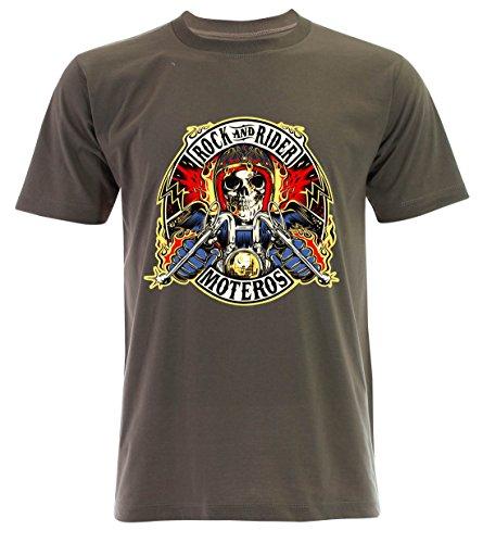 PALLAS Unisex's Motorcycle Club Rock and Rider T Shirt Khaki