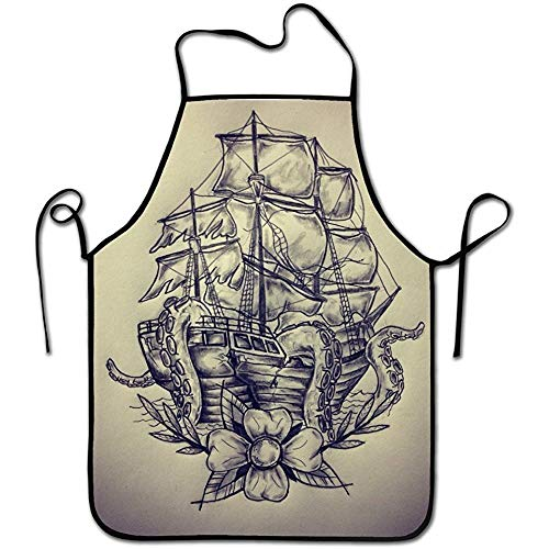 kjhglp Fashion Design,Adult Chef Apron,Restaurant Durable Baking Bib Apron,Keep The Clean Clothes-Sail Boat Waves and Octopus