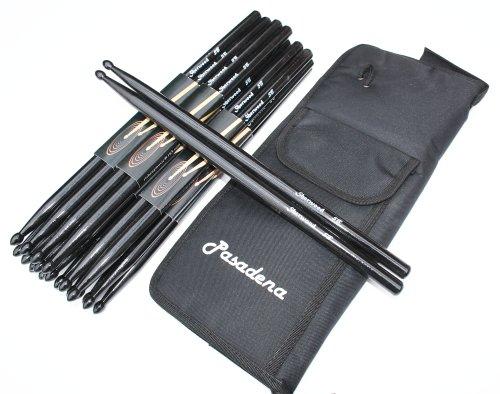 12 Paar Drumsticks 5B Schwarz (24 Stück) + dicke Tasche