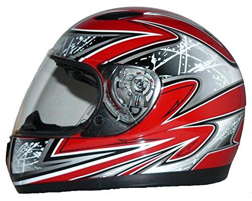 Kinder Motorradhelm rot SA03 + Sturmhaube - XS