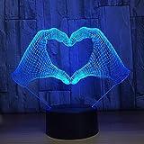 Nouveauté Coeur Forme De La Main 3d Lampe Tactile Capteur Capteur Lumière LED7...