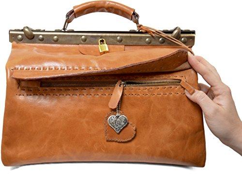 Preisvergleich Produktbild Kilaccessori Wilder Westen Tasche mit Verschluss im Stil einer Arzttasche. Zwei große Taschen, eine innen und eine außen, mit Reißverschluss.