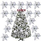 SERWOO (Dia. 15cm) 24pz Fiore Artificiale Natale per Albero Argento Finti Natalizi Decorazione Addobbi Ornamenti Natalizie