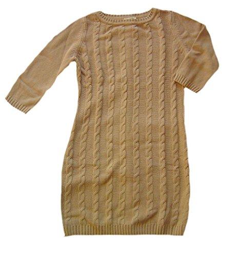 BOYSENS Zopfmuster-Strickkleid Damenkleid 3/4-Arm camel Gr. 40/42