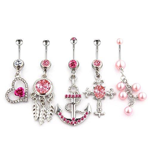 5 Stück Rosa Bauchnabelpiercing set mit Strass von Vcmart