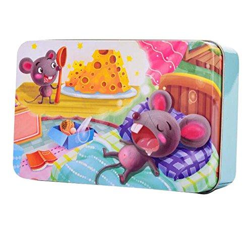 Black Temptation 60 PCS hölzernes Eisen-Kasten-Puzzlespiel-Spielzeug-Kinderbildungs-Puzzlespiel Tier-A1