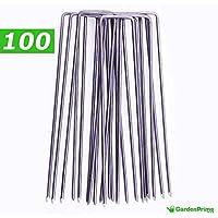 [Patrocinado]GardenPrime Grapas Metálicas alambre de acero 150mm 2.8mm para sujetar tela antihierbas, mallas, lana, aislantes, telas de jardinería y láminas de polietileno (100, Acero)