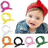 Kfnire 8pcs bebé niñas niño pequeño arco diademas turbante nudo conejo hairband headwrap headwear