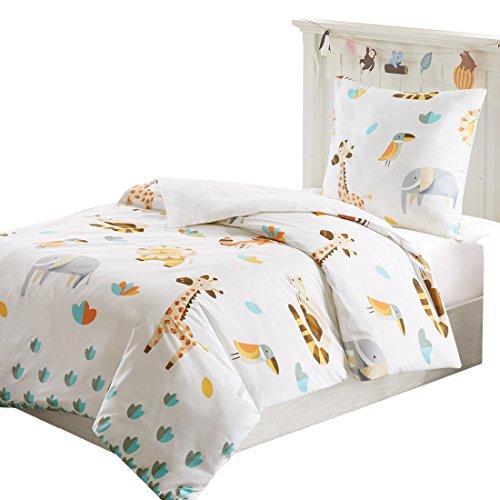 SCM Kinder Bettwäsche 135x200cm Tiere Elefanten 2-teilig Bettbezug Kopfkissenbezug 80x80cm Renforcé Mädchen Jugendliche Kinderbett Animal Zoo Off White Grau