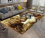 LB Tiermuster Hintergrund, Tiger, Löwe, herrschsüchtig, Bereich Teppich, Wohnzimmer Schlafzimmer Badezimmer Küche Kinder/Baby Zimmer weichen Teppich Bodenmatte Home Decor, 120x160cm