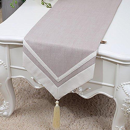 Nappe de Table de Lin Nappe Naturel Vintage Pure Color Table de Lit Chemin de Table en Tissu pour Table de Salle à Manger Cuisine Rustique (Couleur : Gris clair, taille : 33 * 150cm)