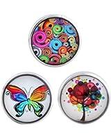 Morella® Damen Click-Button Set 3 Stück Druckknöpfe Flower Power