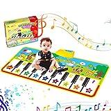 RenFox Musikmatte Kinder Klavier Matte musikalische Teppich Spiel Tastatur 8 Tierlaute & Lautst?rke Einstellbar Klaviermatte Tiermuster Kinder Baby Spielzeug Geschenk 135 * 59cm