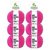 HANSA-FARM 100% Laine de Coton en 12 Couleurs - 300g (6 x 50g) - Exclusif Laine certifiée Oeko-Tex Standard 100 pour Le Tricot & Le Crochet - Set de Fil de Coton pelotes Laine Rose