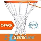 2-Pack Premium-Qualität Professionelles Basketballnetz für alle Wetterbedingungen Dick Strapazierfähig | Multi-Pack - 12 Schlaufen Netze (weiß) - 2 Basketballnetze im Pack