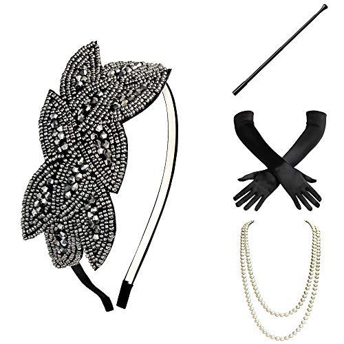 20er Accessoires Kostüm Jahre - BABEYOND 1920s Flapper Set Damen Gatsby Kostüm Accessoires Set inklusive Stirnband Halskette Handschuhe Zigarettenhalter (Set-28)