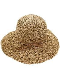 HugeDE ragazza pieghevole Estate Sole Cappello Cappelli Cappello Di Paglia  Cappello Da Sole Sole Cappelli spiaggia 12963a2355cd