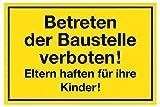 Metafranc Hinweisschild Betreten der Baustelle verboten! - 250 x 150 mm/Beschilderung/Verbotsschild/Zutrittsverbot/Privatgrundstück/Baustellenkennzeichnung/Gewerbekennzeichnung/500090
