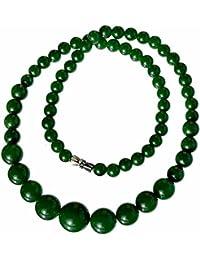 Collare perlas Joya piedra natural Jaspe 6-14mm 46cm Mujer Verde Selena
