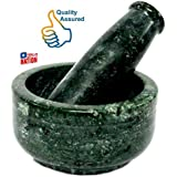 HALO NATION Okhli , Kundi ,Kharad , Spice Masher , Spice Mixer , Mortar and Pestle Set- 5 Inches - Made of Green Marble From Banks of Holy Narmada River - Spice Grinder Masher