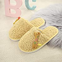 Winter plush cute ladies slippers lamb wool children slippers giraffe slippers