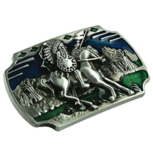Prettyia 1 Western Retro Belt Buckle Piece for Jeans Jeans - Silver and Green #14, as described